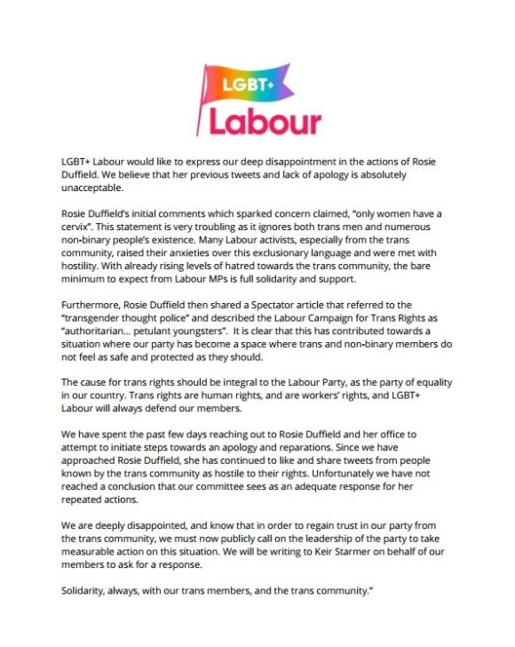 LGBT Labour Statement